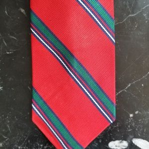 Vintage 80s Bright Red Green Striped Silk Tie